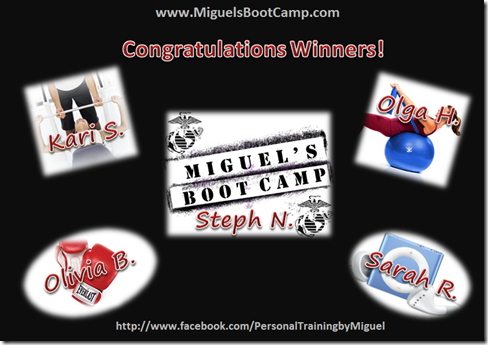 Miguel's Boot Camp Winners
